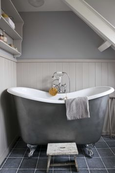 Relaxing in warm water. Grey Houses, Gray Matters, Grey Skies, Lady Grey, Cozy Cottage, Clawfoot Bathtub, Amazing Bathrooms, Shades Of Grey, Grey And White