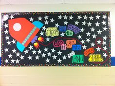 Awesome bulletin board idea for Creation Unit!--gives me an idea for another watercolor cut-out one: stars on a black-painted canvas background