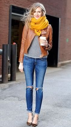 cute jacket and I love the yellow color of the scarf as well.