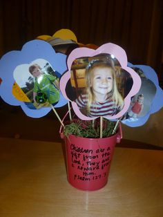 DIY Mother's Day Picture Flower Pot Bouquet from Mama to 4 Blessing Our Homeschool Blog