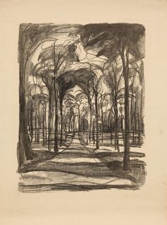 Edvard Munch (Norw. 1863-1944, Woods by Wiesbaden, 1922, Lithographic crayon on paper, 49.5 x 38 cm