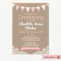 Christening Invitation, Baptism Invitation, Girls Baby Babies, Bunting & Lace, Childrens Shabby Chic, Digital file by ChubbySparrow on Etsy