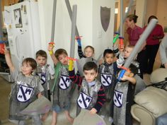 Dollar Tree swords, shimmery no sew material for tunics and felt cut out shapes glued on with hot glue for crest. (Knights at a Princess party.)