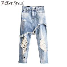 b346c4348d274 2017 New Sexy Women Ripped Jeans Summer Ninth Pants Vintage Jeans Street  Slim Boyfriend Denim Pants irregular Trousers Femme AliExpress Affiliate's  Pin.