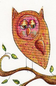 Owl don on book page with watercolour