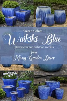 Glazed ceramic pottery planters, flower pots, for decorative indoor or outdoor container gardening and interior home decorating ideas. Large Outdoor Planters, Outdoor Pots, Indoor Outdoor, Large Floor Vase, Tall Floor Vases, Container Herb Garden, Garden Pots, Blue Garden, Flower Planters