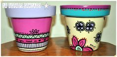 """""""I wait for you sitting"""" Painted Flower Pots, Painted Pots, Cactus Clipart, Flower Pot Crafts, Arts And Crafts, Diy Crafts, Pottery Painting, Terracotta Pots, Clay Pots"""