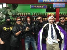 Brian, Mark (markiplier), Danny, Matt Watson, Seán (jacksepticeye) and Ryan Magee on the set of Ninja Sex Party's new music video for 'Cool Patrol'