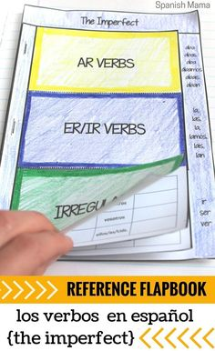 All you need for the to create a reference section for The Imperfect! Help your students organize verbs in Spanish with this flapbook, perfect for interactive notebooks. The endings are listed on the side as an easy at-a-glance reference.