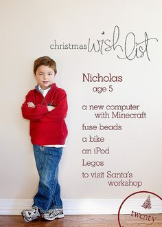 Picture and Christmas List - such a cute idea!