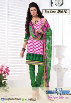 White & Green Salwar Kameez, Top:fabric amarican 2.00 mtrs, Bottom:fabric amarican 2.00 mtrs, Dupatta:fabric chiffon 2.25 mtrs   Visit: http://surateshop.com/product-details.php?cid=2_27_44&pid=11817&mid=0