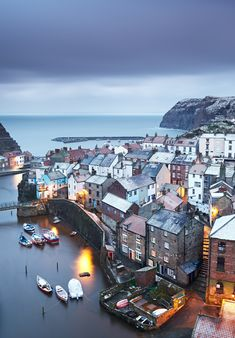 """Staithes,Yorkshire, as the """"Beast from the East"""" storm bore down on it. Photo by Dennis Bromage. East Yorkshire, Yorkshire England, Yorkshire Dales, Whitby England, Places Around The World, Around The Worlds, Wonderful Places, Beautiful Places, Places To Travel"""