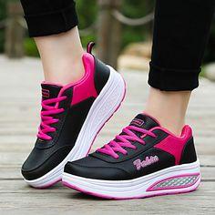 Zapatos de mujer - Tacón Cuña - Cuñas / Plataforma - Zapatos de Deporte - Exterior / Casual / Deporte - Semicuero - Negro / Azul / Rosa 4440977 2016 – €24.49