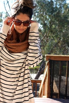 Oversized stripes + chunky scarf + aviators.