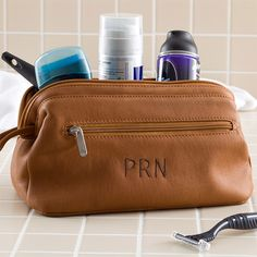 Father's Day Gifts – Embroidered Brown Leather Dopp Kit Travel Bag