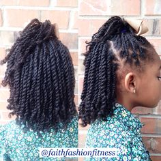 Twist Hairstyles For Kids Flat Twist With Side Bang With Two Strand Twist Hanging In The Back