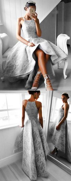 Unique high low lace prom dress style