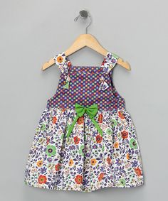 Take a look at this Purple & Green Bow Knot Dress - Infant, Toddler & Girls by Buttercup Dresses on #zulily today!
