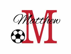 """Soccer Wall Decal Initial and Name Vinyl Wall Decal Sports Decal Athletics for Boy Baby Nursery or Boys Room 22""""H x 32""""W Wall Art FS0197. $42.00, via Etsy."""