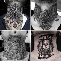Best Neck Tattoo Ideas for Men - diy tattoo project Owl Neck Tattoo, Tribal Neck Tattoos, Side Neck Tattoo, Best Neck Tattoos, Skull Tatto, Neck Tattoo For Guys, Shoulder Tattoo, Back Tattoo, Sleeve Tattoos