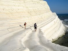 Scala dei Turchi (Turkish Steps), Sicily. If you find yourself at the Valley of the Temples in Agrigento, Sicily, be sure to travel just 15 minutes to this spectacular Southern coastal sea line at Realmonte. A haven for private, but public, beach-goers and irresistible for photographers, Scala dei Turchi is another prized jewel of this dynamic and unique island. #agrigento