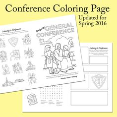 General Conference Coloring Pages General Conference Activities For Kids, Primary Activities, Church Activities, Book Activities, Primary Lessons, Activity Day Girls, Activity Days, Family Home Evening, Family Night
