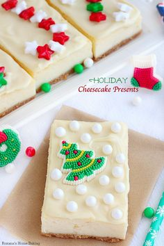 Put a smile on your family and friends' smile with these adorable holiday cheesecake presents