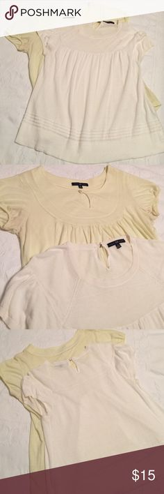 "2 Gap tops lightweight yellow & white small 2 cute short sleeve cotton and cotton blend tops by Gap. Length 23""  small.  Cute, feminine and easy! 😘 GAP Tops"