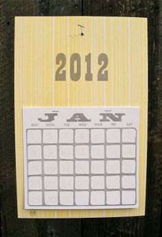 A letterpress monthly tear-away calendar from May Day Studio (left); and a fun calendar for meat lovers by Drywell (right).