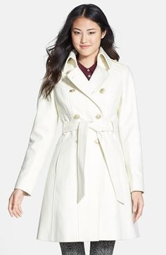 GUESS Double Breasted Wool Blend Trench Coat (Online Only)