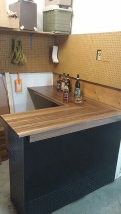 Garage Bar Desk Made From S Material Walnut Top And Trim With Checker