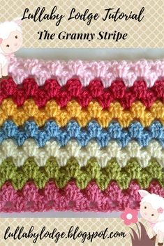 The Granny Stripe - Crochet Tutorial Get your retro on! Learn how to make a gorgeous crochet granny stripe blanket in this step by step tutorial. Granny Stripe Crochet, Point Granny Au Crochet, Granny Stripe Blanket, Afghan Crochet Patterns, Crochet Stitches, Stitch Patterns, Knitting Patterns, Granny Squares, Crochet Doilies