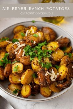 These Ranch Potatoes are bursting with flavor! Crispy outsides and tender insides. They are the perfect side to almost any meal! #airfryer #airfryerrecipes #ranchpotatoes #potatorecipes #sidedishrecipes #easyrecipes #under30miniutes #mustmakerecipes #deliciousrecipes #airfriedpotatoes #comfortfood #buttermilkranch #recipes #quickrecipes Side Dishes Easy, Side Dish Recipes, Easy Dinner Recipes, Appetizer Recipes, Easy Meals, Easy Recipes, Dinner Ideas, Oven Recipes, Ranch Potatoes