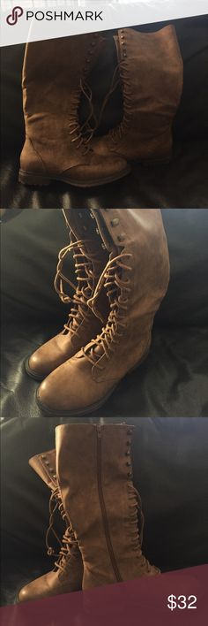 Tall Laced Cognac colored boots Tall Laced Cognac Boots great with leggings, jeans or skirts. Worn only once Mossimo Supply Co Shoes Lace Up Boots