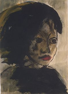 emil nolde(1867-1956), portrait of a young girl, 1913/14. watercolor, indian ink and gouache, 37.5 x 26.5 cm.the state hermitage museum, saint petersburg, russia  http://www.hermitagemuseum.org/