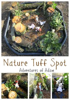 Nature Tuff Spot by Adventures of Adam. Part of the Outdoor Play Challenge, hosted by Building Blocks and Acorns Eyfs Activities, Nursery Activities, Nature Activities, Autumn Activities, Toddler Activities, Outdoor Activities, Camping Activities, Tuff Spot, Eyfs Outdoor Area
