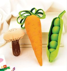 Entertain your little ones with soft stuffed veggie-themed toys  Children love to play with things that make a noise, and the hidden squeakers and rattles placed within these oversized stuffed vegetable toys are sure to keep young hands entertained. Made from felt, thread, stuffing and noise-makers they are quick and easy to stitch up by hand – no machine necessary!