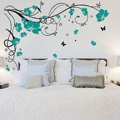Black Teal Large Butterfly Vine Flower Vinyl Removable Wall Stickers Tree Wall Art Decals Mural for Living room Bedroom Home Decor Butterfly Wall Decals, Wall Decor Stickers, Butterfly Wall Stickers, Bedroom Wall Stickers, Contemporary Wall Stickers, Flower Mural, Diy Wall Painting, Removable Wall Stickers, Sticker Vinyl