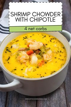 Loaded with sweet tender shrimp and a Texas-sized kick from the chipotle, this amazing keto soup recipe is a seafood chowder recipe you will make again and again! Love Shrimp Chowder recipes? Try this Shrimp & Chipotle Chowder today!