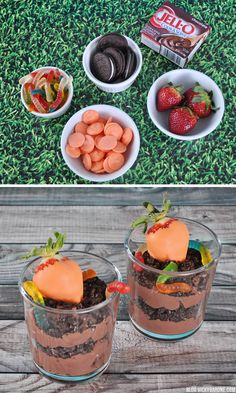 Chocolate Easter Gardens | Vicky Barone | chocolate covered strawberries made to look like carrots, nestled in a garden dirt cup with chocolte pudding, crushed Oreos, and gummy worms!