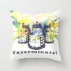Daleks From Doctor Who Throw Pillow by Idillard - $20.00