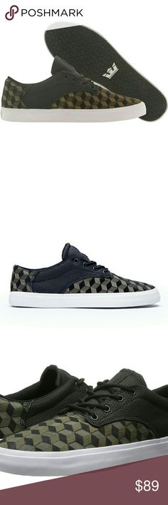 NWT Supra Men's Pistol Olive Black White Sneaker Color: Black/olive   Synthetic  Black ponyhair suede  Black perforated leather  Oliver textile with laser etched pattern  Black vulcanized sole with white foxing  Black hardware. Black nylon rope laces Supra Shoes Sneakers
