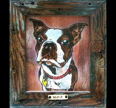 Brutus.  Etsy Commission. Woodburning, mixed media on reclaimed wood. https://www.etsy.com/listing/59146417/custom-woodburning-pet-portrait?ref=shop_home_feat