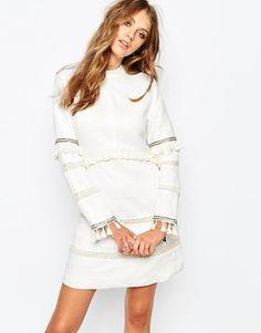 Stevie May | Stevie May Long sleeve High Collar Mini Dress in White at ASOS