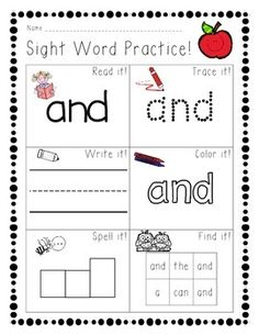 Sight word practice page for the word AND.Students will read trace write color spell and find the sight word AND. Preschool Sight Words, Teaching Sight Words, Sight Words List, Sight Word Practice, Sight Word Activities, Phonics Activities, Preschool Worksheets, Pre K Sight Words, Preschool Prep