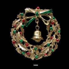 Vintage Holiday Wreath Pin with Bell & Painted by AntiquingOnLine