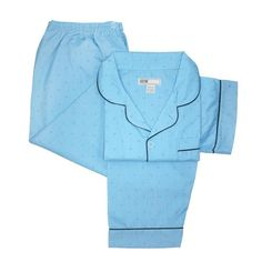 Stay cool and comfortable any time of year with these classically styled short sleeve, long leg pajamas. The notch collar shirt features a convenient patch pocket. The pants feature an elastic waist with button closure for a perfect fit.