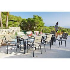Table de jardin 6 personnes en aluminium gris anthracite L230 | Maisons du Monde