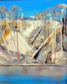 Arthur Boyd Shoalhaven River Escarpment Oil on Board, 36 cm x 30 cm Abstract Landscape, Landscape Paintings, Abstract Trees, Landscapes, Ink Paintings, Australian Painting, Australian Artists, Modern Art Artists, Arthur Boyd