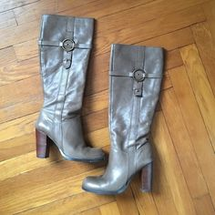 Nine West Kayleer Knee High Boots Nine West Kayleer Knee High Boots. Good condition with minor scuffs on heels. See pics. Super comfortable & a color that goes with so much! Nine West Shoes Heeled Boots